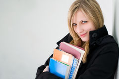 Beautiful young blond student girl. Stock Image