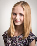 Beautiful Young Blond Teenage Girl in Flower Top Stock Photo