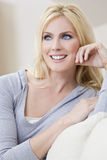 Beautiful Young Blond Woman With Blue Eyes royalty free stock images