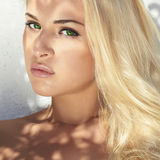 Beautiful young blond woman in daylight.shadows on the face.summer sunlight Stock Photos