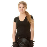 Beautiful young blond woman - jockey Stock Photography