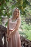 Beautiful young blond woman outdoors. Young blond woman in a pink dress outdoors stock images