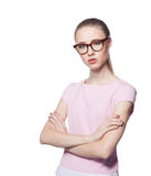 Beautiful young blond woman wearing glasses with arms folded. Office style. Isolated on white background Royalty Free Stock Images