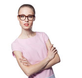 Beautiful young blond woman wearing glasses with arms folded. Office style. Smile. Isolated on white background Royalty Free Stock Photo
