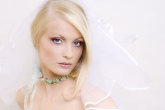 The beautiful young blonde. Portrait of the young blonde in a wedding veil Stock Photography