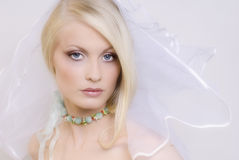 The beautiful young blonde. Portrait of the young blonde in a wedding veil Stock Image