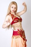 Beautiful young blonde, Arab Dance Royalty Free Stock Photography
