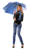 Beautiful young blonde with blue umbrella Royalty Free Stock Photography