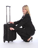 Beautiful young blonde business woman travelling Stock Photography