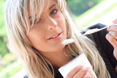 Beautiful young blonde in closeup view Royalty Free Stock Images