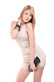 Beautiful young blonde in a dress stock photography