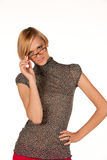 Beautiful young blonde with eyeglasses isolated Royalty Free Stock Photo