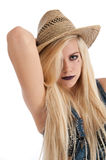 Beautiful young blonde female wearing staw hat Stock Photography