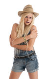 Beautiful young blonde female wearing staw hat Stock Photo
