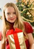 Beautiful young blonde girl - christmas Royalty Free Stock Photos