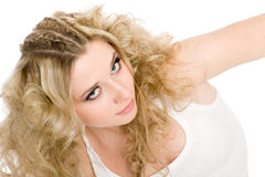 Beautiful young blonde girl with stylish hair Royalty Free Stock Photography