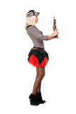 Beautiful young blonde with guns Royalty Free Stock Photography
