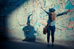 Beautiful young blonde hipster stylish woman Royalty Free Stock Photography