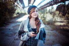 Beautiful young blonde hipster stylish woman Stock Photos