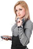 Beautiful young blonde with smartphone. Isolated Stock Images