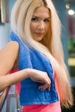 Beautiful young blonde with towel Stock Photos