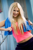 Beautiful young blonde with towel Stock Image