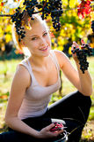 Beautiful young blonde woamn harvesting grapes in vineyard Stock Photography
