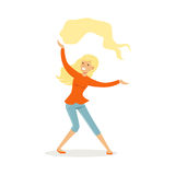 Beautiful young blonde woman in casual clothes dancing traditional Indian dance colorful character vector Illustration. On a white background Royalty Free Stock Images
