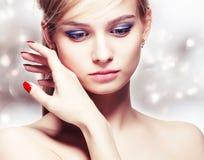 Beautiful young blonde woman Stock Photos