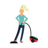 Beautiful young blonde woman housewife cleaning the floor with vacuum cleaner, home cleaning and homework  Illustration. On a white background Royalty Free Stock Image