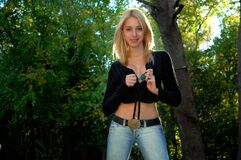 Free Beautiful Young Blonde Woman In The Woods Stock Images - 194615054