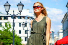 Beautiful young blonde woman in long dress Royalty Free Stock Images