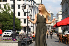 Beautiful young blonde woman in long dress Royalty Free Stock Photos
