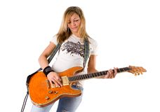 Beautiful young blonde woman playing guitar 2 Stock Photography
