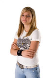 Beautiful young blonde woman portrait. Portrait of a beautiful young blonde woman in jeans and a tee shirt on a white background Royalty Free Stock Photography