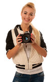 Beautiful young blonde woman posing isolated over white backgrou Royalty Free Stock Images