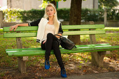 Beautiful young blonde woman posing isolated over white backgrou Royalty Free Stock Photography