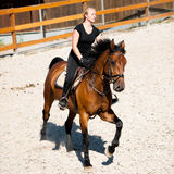 Beautiful young blonde woman riding a horse. On a farm Royalty Free Stock Photography