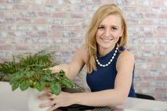 Beautiful young blonde woman using laptop Stock Photos