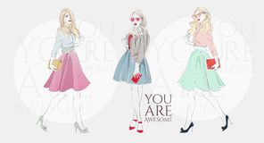 Beautiful blonde women in a fashion retro clothes with bag on high heels. Vector hand drawn illustration. Beautiful young blonde women in a fashion retro Stock Photos