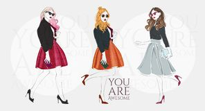 Beautiful young women in a fashion retro clothes with bag on high heels. Vector hand drawn illustration. Beautiful young blonde women in a fashion retro clothes Stock Photo