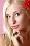 Beautiful young blue eyed woman Stock Photography