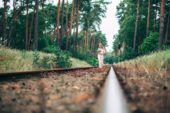 Beautiful Young Boho Styled Bride On The Railway Royalty Free Stock Photos