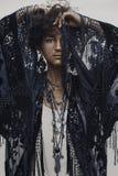 Beautiful young boho woman fashionable portrait on white backgro royalty free stock photography
