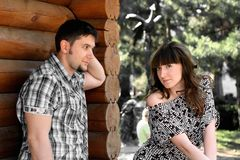Beautiful young boy and a girl in love. Beautiful young couple on nature Royalty Free Stock Photo
