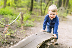 Beautiful young boy holding the end of a wooden bench Stock Photos