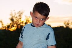 Beautiful young boy posing outdoor Royalty Free Stock Images