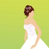 Beautiful young bride. With a patterned bodice on her wedding gown - modern style flowers in hair vector illustration