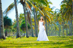 Beautiful young bride. In dress outdoors Stock Photo