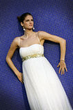 Beautiful young bride. Beautiful brunet bride in wedding dress Stock Image
